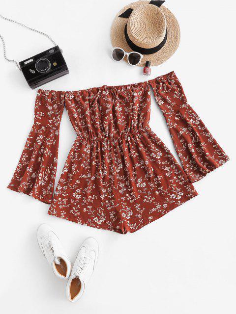 lady ZAFUL Floral Flare Sleeve Off Shoulder Wide Leg Romper - RED L Mobile