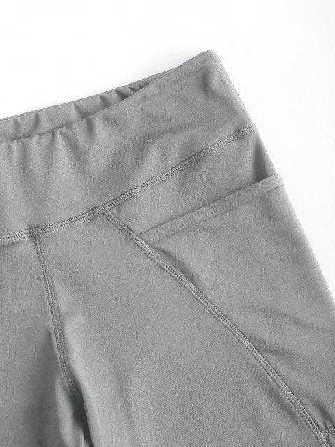 unique High Rise Pocket Stretchy Biker Shorts - LIGHT GRAY L Mobile