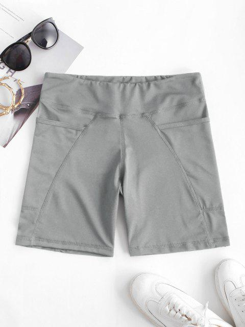 sale High Rise Pocket Stretchy Biker Shorts - LIGHT GRAY S Mobile