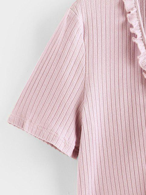 shops ZAFUL Ruffle Front Tie Ribbed Crop Tee - LIGHT PINK S Mobile