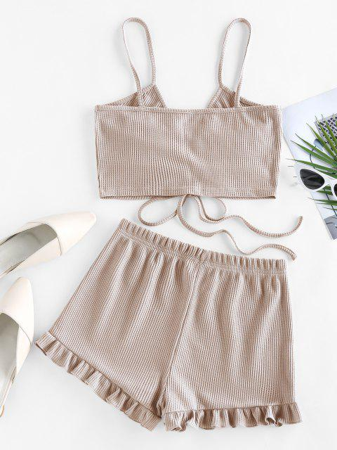 online ZAFUL Cinched Ribbed Flounce Two Piece Shorts Set - LIGHT YELLOW M Mobile