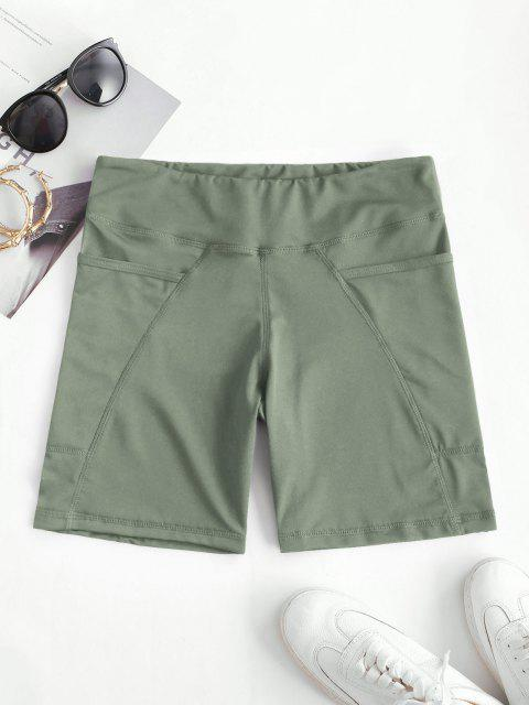 outfit High Rise Pocket Stretchy Biker Shorts - LIGHT GREEN S Mobile