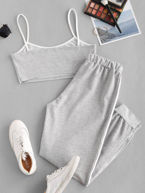 trendy Sports Contrast Tape Cropped Track Set - LIGHT GRAY L Mobile