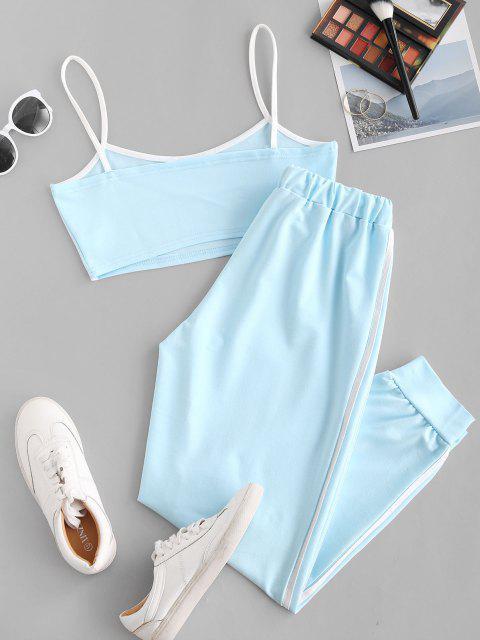 shop Sports Contrast Tape Cropped Track Set - LIGHT BLUE XL Mobile