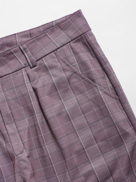 Pantalones Casuales de Estampado de Cuadros - Púrpura 2XL Mobile
