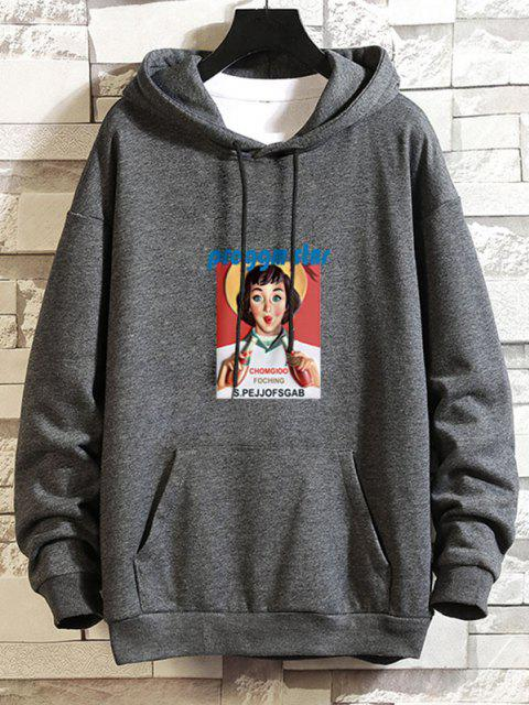 chic Girl Graphic Print Drop Shoulder Hoodie - GRAY S Mobile