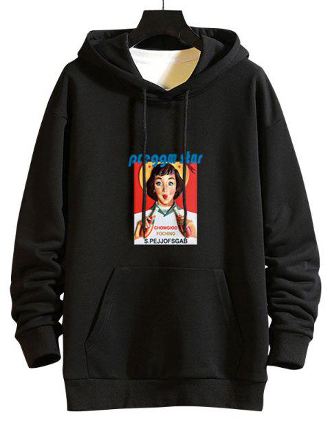 fancy Girl Graphic Print Drop Shoulder Hoodie - BLACK 2XL Mobile