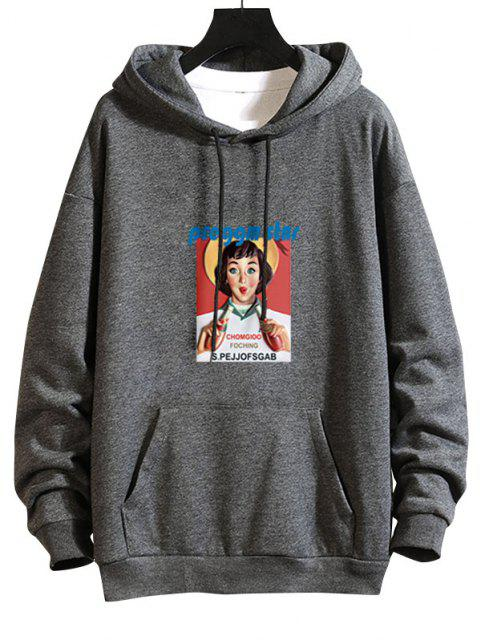 unique Girl Graphic Print Drop Shoulder Hoodie - GRAY 2XL Mobile