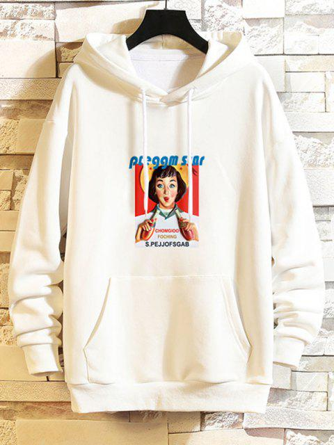 sale Girl Graphic Print Drop Shoulder Hoodie - WHITE XS Mobile