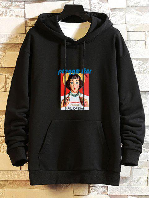 latest Girl Graphic Print Drop Shoulder Hoodie - BLACK S Mobile