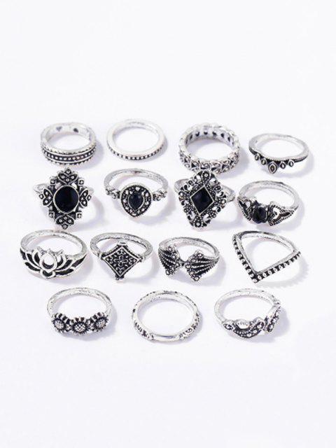 women's 15 PCS Retro Black Gems Flower Geometric Rings Set - SILVER  Mobile