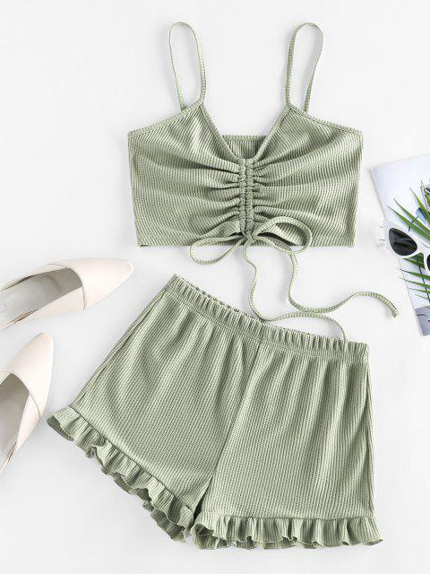 women's ZAFUL Cinched Ribbed Flounce Two Piece Shorts Set - LIGHT GREEN S Mobile