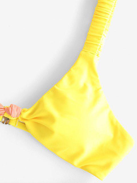 chic ZAFUL Bicolor Knotted Elastic Strap Tanga Bikini Swimwear - MULTI S Mobile