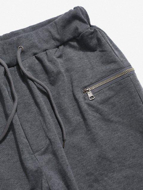 unique Pleated Patch Knee Zipper Jogger Sweatpants - LIGHT GRAY 3XL Mobile