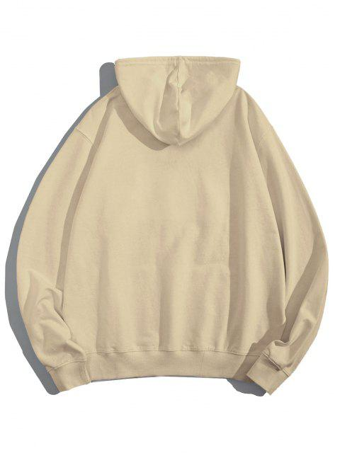 latest Helping Hands Graphic Front Pocket Lounge Hoodie - LIGHT COFFEE XS Mobile