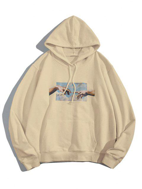 affordable Helping Hands Graphic Front Pocket Lounge Hoodie - LIGHT COFFEE M Mobile