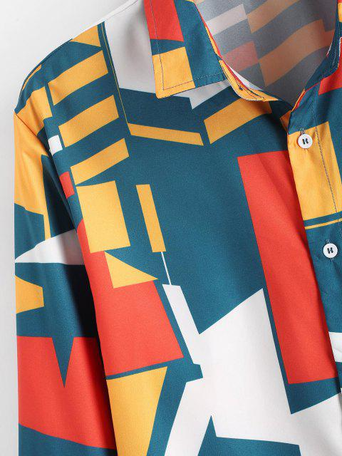 sale Geometric Print Button Up Shirt - MULTI M Mobile