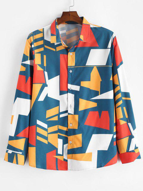 Geometric Print Button Up Shirt - متعدد XL Mobile