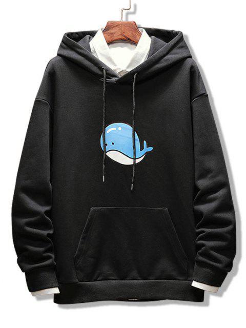 unique Dolphin Print Drop Shoulder Hoodie - BLACK 2XL Mobile