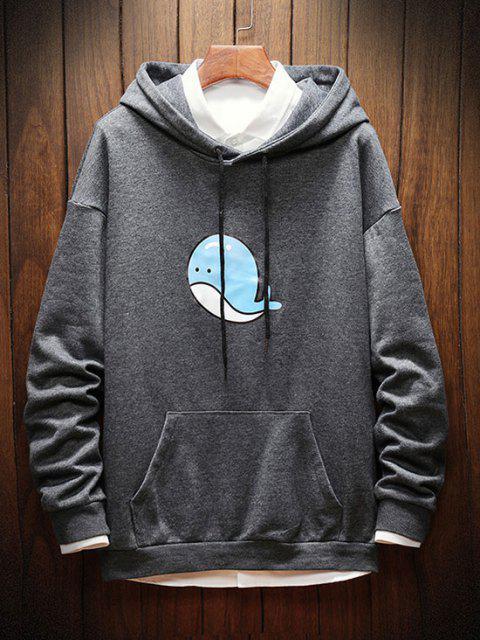 Dolphin Print Drop Shoulder Hoodie - اللون الرمادي M Mobile