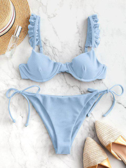 unique ZAFUL Frilled Textured Tie Underwire Bikini Swimsuit - LIGHT BLUE M Mobile