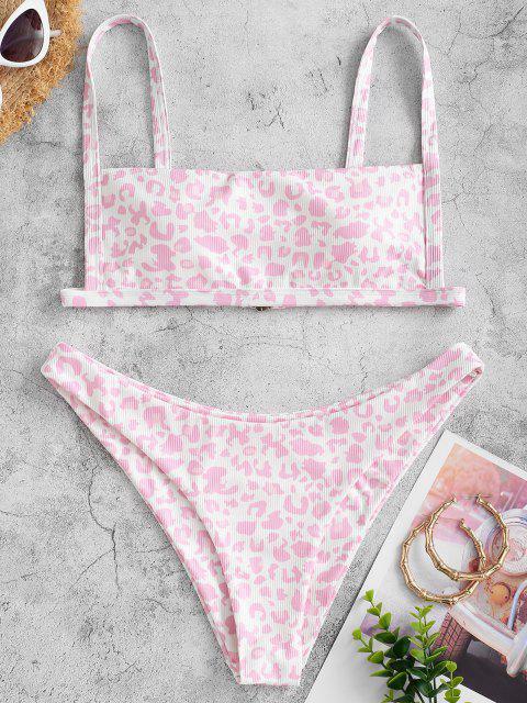 Conjunto de Bikini con Canalé con Estampado de Animal ZAFUL - Cerdo Rosa L Mobile