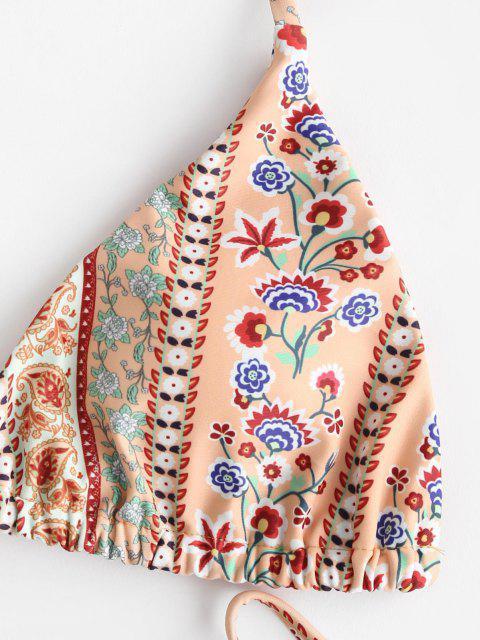 outfit ZAFUL Bohemian Flower Paisley Halter String Bikini Swimwear - DARK ORANGE M Mobile
