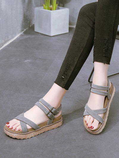 Crisscross Ankle Strap Platform Sandals - Gray Eu 38