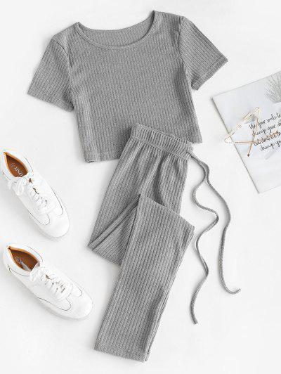 Ribbed Knit Crop Top And Leggings Set - Gray S