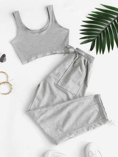 Two Piece Ribbed Cropped Jogger Sweatpants Set - Light Gray S