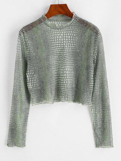 Mesh Sheer Animal Print High Neck Tee - Light Green L