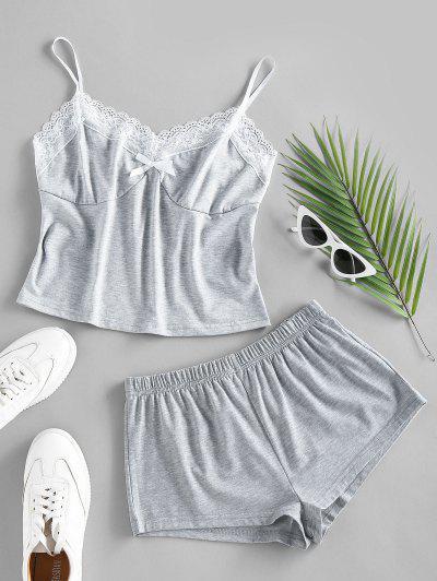ZAFUL Lace Insert Colorblock Bowknot Pajama Shorts Set - Dark Gray S