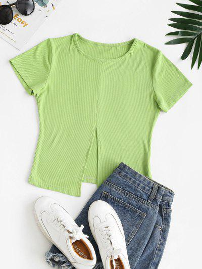 Solid Ribbed Front Slit Tee - Light Green M