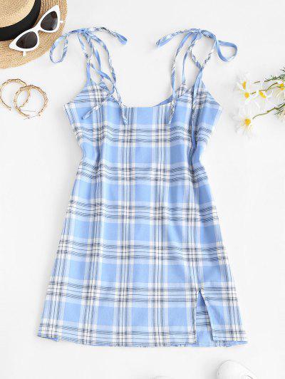 Tie Shoulder Front Slit Plaid Suspender Skirt - Light Blue M