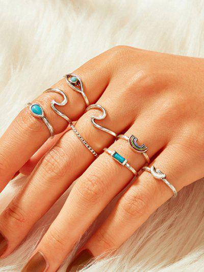 8 Piece Teardrop Eye Rainbow Finger Rings Set - Silver
