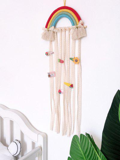 Home Decoration Rainbow Hairpin Holder Lace Wall Hanging - Multi-a