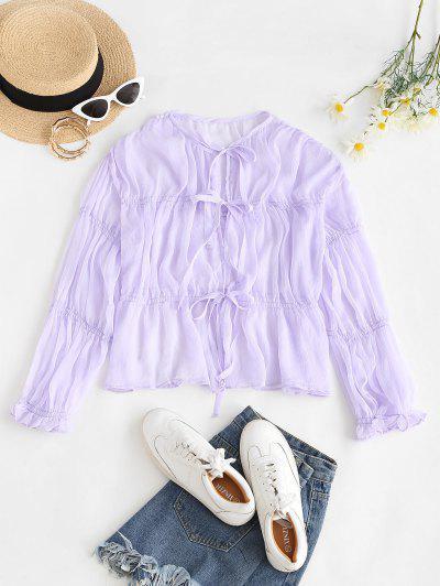 See Thru Ties Poet Sleeve Blouse - Light Purple S