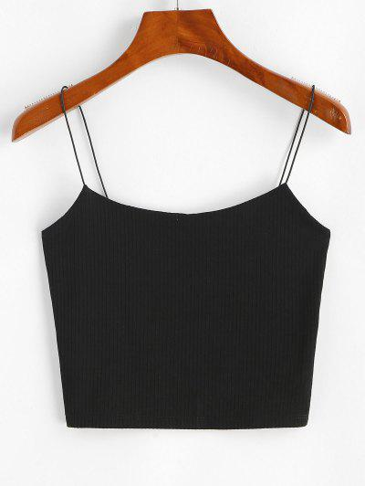 Plain Ribbed Bungee Cami Top - Black M