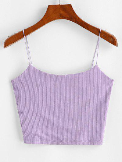 Plain Ribbed Bungee Cami Top - Purple M