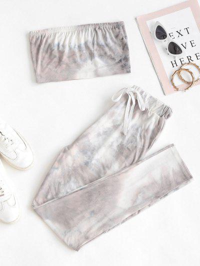 Tie Dye Bandeau Drawstring Two Piece Set - Gray S
