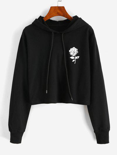 Rose Pattern Drawstring Cotton Pullover Hoodie - Black L