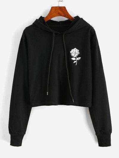 Rose Pattern Drawstring Cotton Pullover Hoodie - Black L
