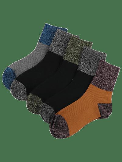 5 Pairs Shiny Patch Crew Socks Set