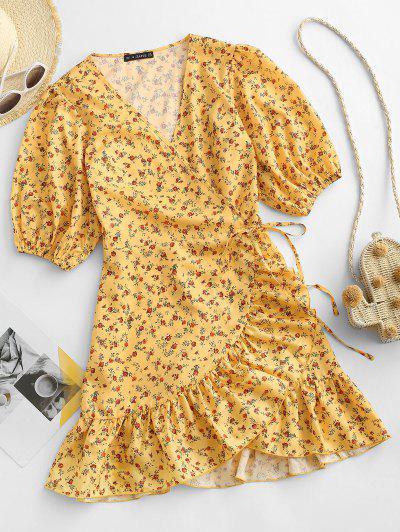 ZAFUL Flower Ruffle Mini Wrap Dress - Yellow M
