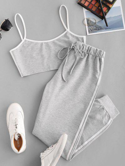 Sports Contrast Tape Cropped Track Set - Light Gray L