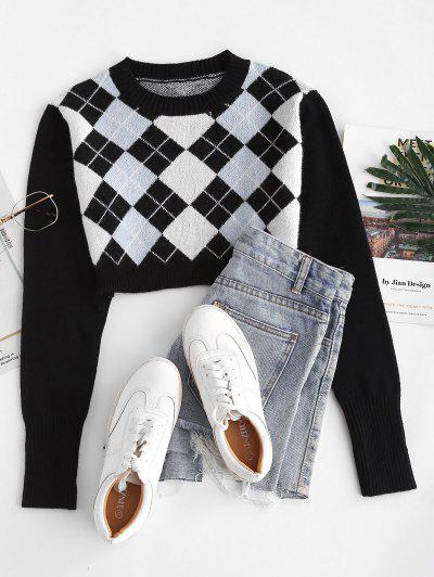 Argyle Crop Jumper Sweater - Black