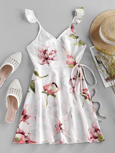 ZAFUL Flower Print Ruffle Mini Wrap Dress - White L