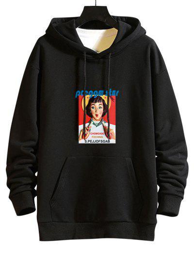 Girl Graphic Print Drop Shoulder Hoodie - Black Xl