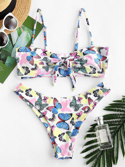 ZAFUL Tied Butterfly Print Bikini Swimwear - Multi L