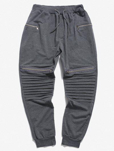 Pleated Patch Knee Zipper Jogger Sweatpants - Light Gray 3xl
